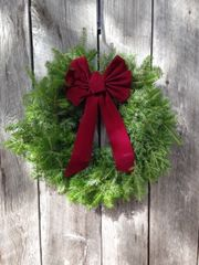 "Woodside - 24"" Wreath - Burgundy Bow"