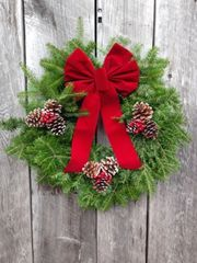 "Woodside - 24"" Wreath - Fully Decorated w/ Red Bow"