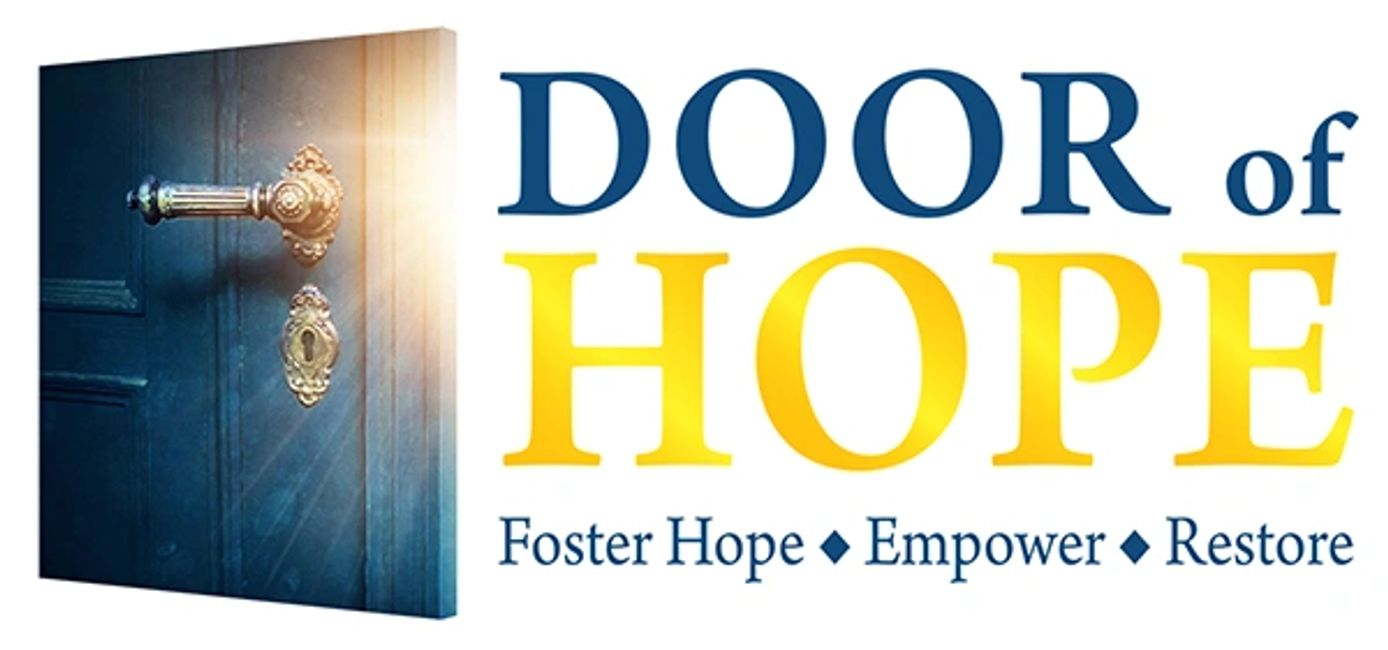 "Logo with words ""Door of Hope"" and Foster Hope, Empower, Restore"