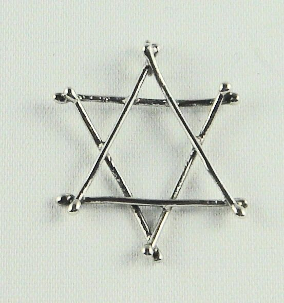 "Necklace Star Of David Twigs 1-3/8"" Long X 1-1/8"" Wide Sterling Silver INCLUDES 24"" STERLING SILVER CHAIN"