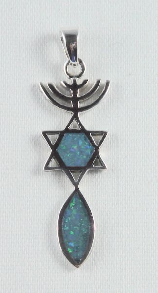 "Charm Menorah Star Fish Sterling Silver With Opal 1.5"" Long"