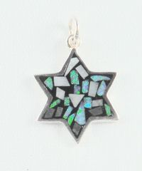 Necklace Star Of David Opal 7/8 Inches Long Stained Glass Design Sterling Silver