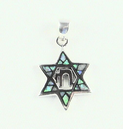 "Charm Star Of David Opal 7/8"" Long With Chai In The Middle, Sterling Silver"