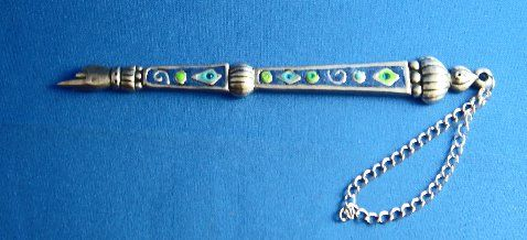 Torah Pointer Pewter With Blue Enamel Accents In Green , Light Blue And Blue Stones. Original Designs By Irit Galmor - Hand Made In Israel