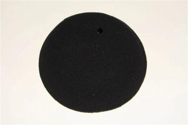 "Kippah Crochet Extra Fine Black Large - Size: 8 1/4"" Diameter, Made In Israel"