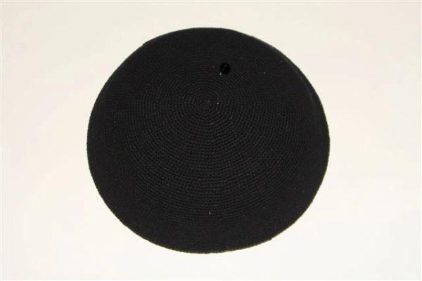 "Kippah Crochet Extra Fine Black Large - Size: 8 1/4"" Diameter, Made In Israel"