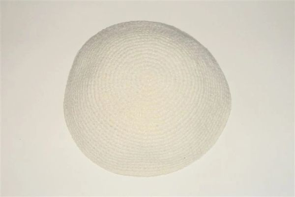 "Kippah Crochet Stitch Softer Material White Large - Size: 7 1/4"" Diameter, Made In Israel"