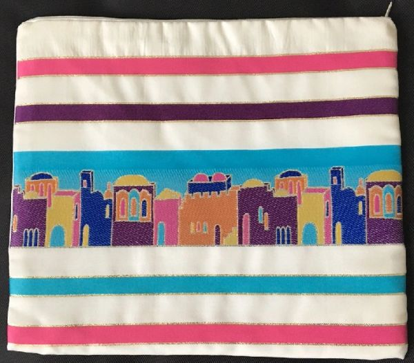"Talit Bag Jerusalem Primary Colors - Size:11.5"" x 11"" - Made in Israel"