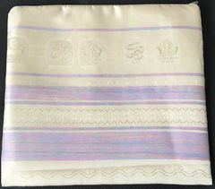 "Talit Bag Shvotim Tzevah - Twelve Tribes Cream with accents in purple and pinks - Size:11"" x 10"" - Made in Israel"