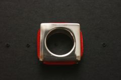 Charm Ring Square or Round Kabbalah SS w/Red String