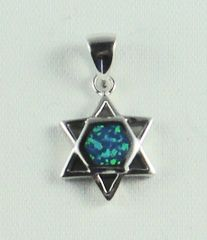 Charm Star of David Opal Medium Sterling Silver - Made in Israel