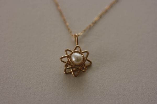 Star of David 3D Gold Filled with Pearl or Opal Stone Charm