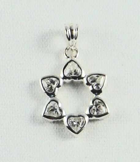 Star of David Heart CZ Charm Sterling Silver - Made in Israel