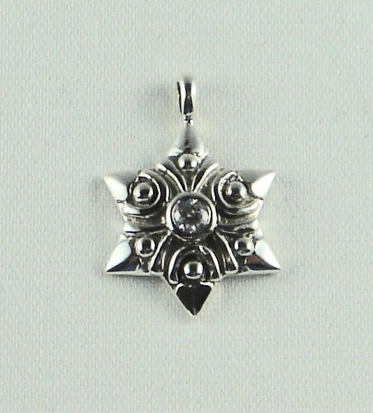 Star of David Modern Charm with Clear Stone in middle - Sterling Silver