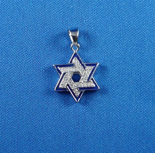 Star of David Charm Sterling Silver with Blue Enamel Frame - Made in Israel