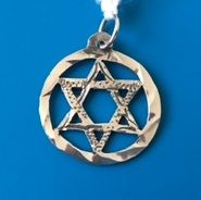 "Star of David Circle 3/4"" Diameter Sterling Silver Charm"