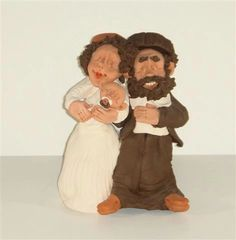 Figure Couple and Baby - Ceramic Made in Israel