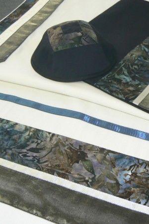 "Talit Set Shades of Green 20"" x 80"" by Eretz Fashionable Judaica"