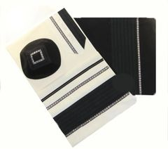 Talit Set Wool Black/Gray/Silver 22 Inches X 80 Inches by Eretz - Made in Israel