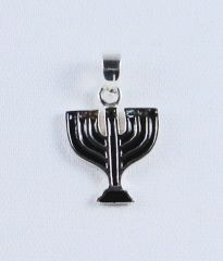 Charm Menorah Black w/Color Stones Sterling Silver