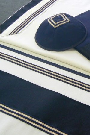 "Talit Set Wool Navy Blue/Black/Silver 20"" x 80"" Made in Israel by Eretz Judaica"