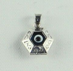 "Charm Blue Eye ""Hexagonal"" Sterling Silver - Approx 1/2"""
