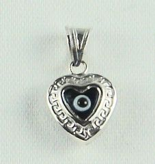 "Charm Blue Eye ""Heart"" Sterling Silver - Approx 1/2"""