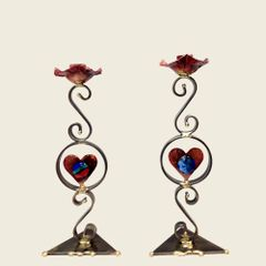 Pair of Heart Candlesticks by The Gary Rosenthal Collection