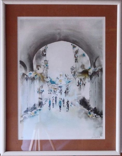 "Lithograph ""Jerusalem Arches"" Framed"
