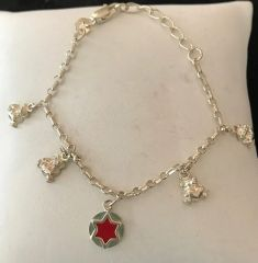 Sterling Silver Baby Bracelet with Mini Bears and Star of David Charms