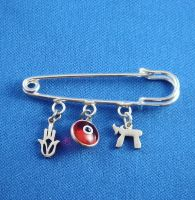"Safety Pin Sterling Silver for Baby with Chai, Evil Eye and Chamsah -2"" Long"