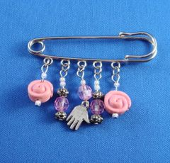 "Safety Pin Silver for Baby with Chamsah and assorted charms-2.75"" Long"