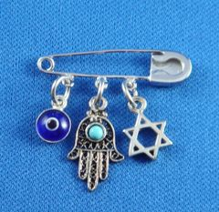 "Sterling Silver Safety Pin w/Star of David, Chamsah and Blue Evil Eye charms - 1.5"" Long"