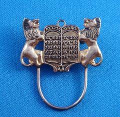 Spec Pin Lions w/Ten Commandments - Brass finish