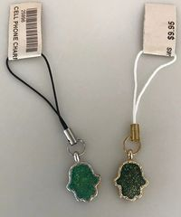 Cellphone Charms Chamsah Green with Gold or Silver border
