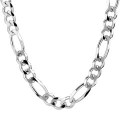 "Sterling Silver Chain Figaro Heavy 22"" Long"
