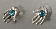 Earrings Stud Chamsah Sterling Silver w/Aqua Stone