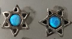 Earrings Sterling Silver Studs Star of David with Opal in the middle - Star Approx. 1/4""