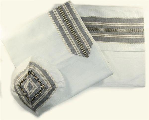 Talit Set Silk White/Black/Gold 22 inches X 72 Inches by Gabrieli - Made in Israel