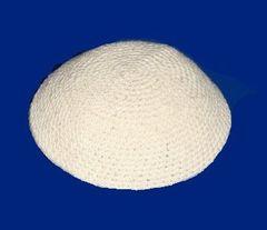 "Kippah White Crochet Thick - Size: 6 3/4"" Diam"