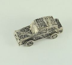 Spice Box Sterling Silver Filigree Car 3 Inches Long - Made In Israel One Of A Kind,