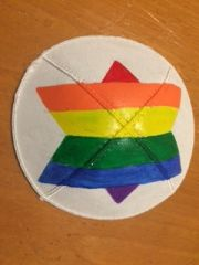 Kippah Suede Hand painted Rainbow -Heart or Star