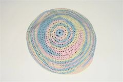 Kippah Ladies Hand Crochet Multi colors pastel