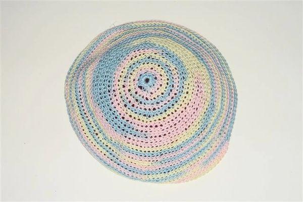 Kippah Ladies Hand Crochet Multi colors pastel