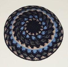 "Kippah Knit Blue Gray Beige - Size : 5"" Diameter"