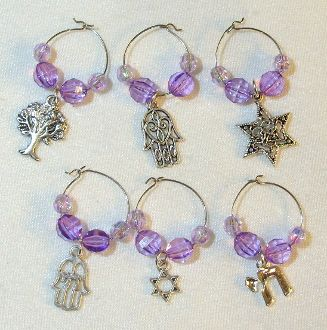 Wine Glass Charms available in Lavender