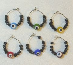 Wine Glass Charms w/Eyes - 6/set