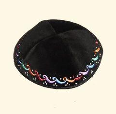 Kippah Velvet Black w/Color Embroidered Border