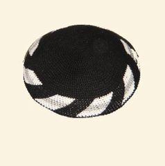 "Kippah Crochet Black w/White-Gray Border - Size: 6"" Diam."