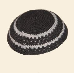 "Kippah Crochet Black w/Gray - Size: 7 3/4"" Diam"
